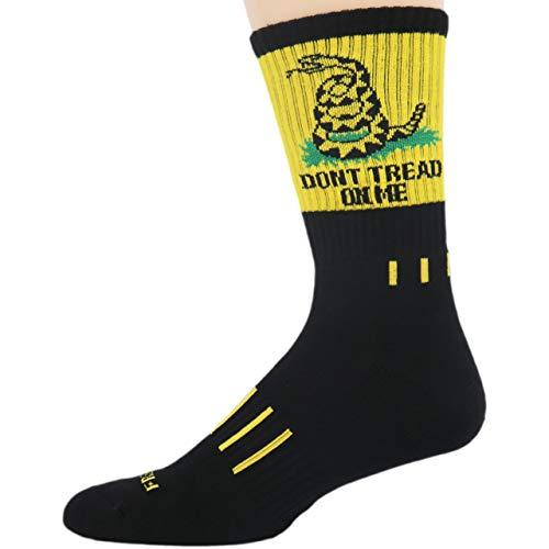 MOXY Socks Black with Yellow Don't Tread on Me! USA Performance Crew Socks