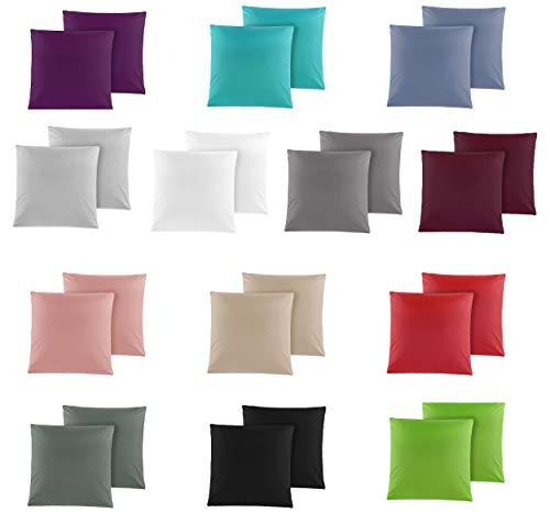 Doppelpack Baumwolle Renforcé Kissenbezug, Kissenbezüge, Kissenhüllen 40x40 cm in 14 modernen Farben Anthrazit