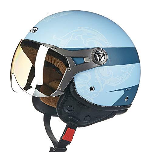 MYSdd Motorradhelm Retro Herren und Damen Damen Motorradhalbhelm Vier Jahreszeiten universal Winddicht warm abnehmbar Gehörschutz - 2 XL