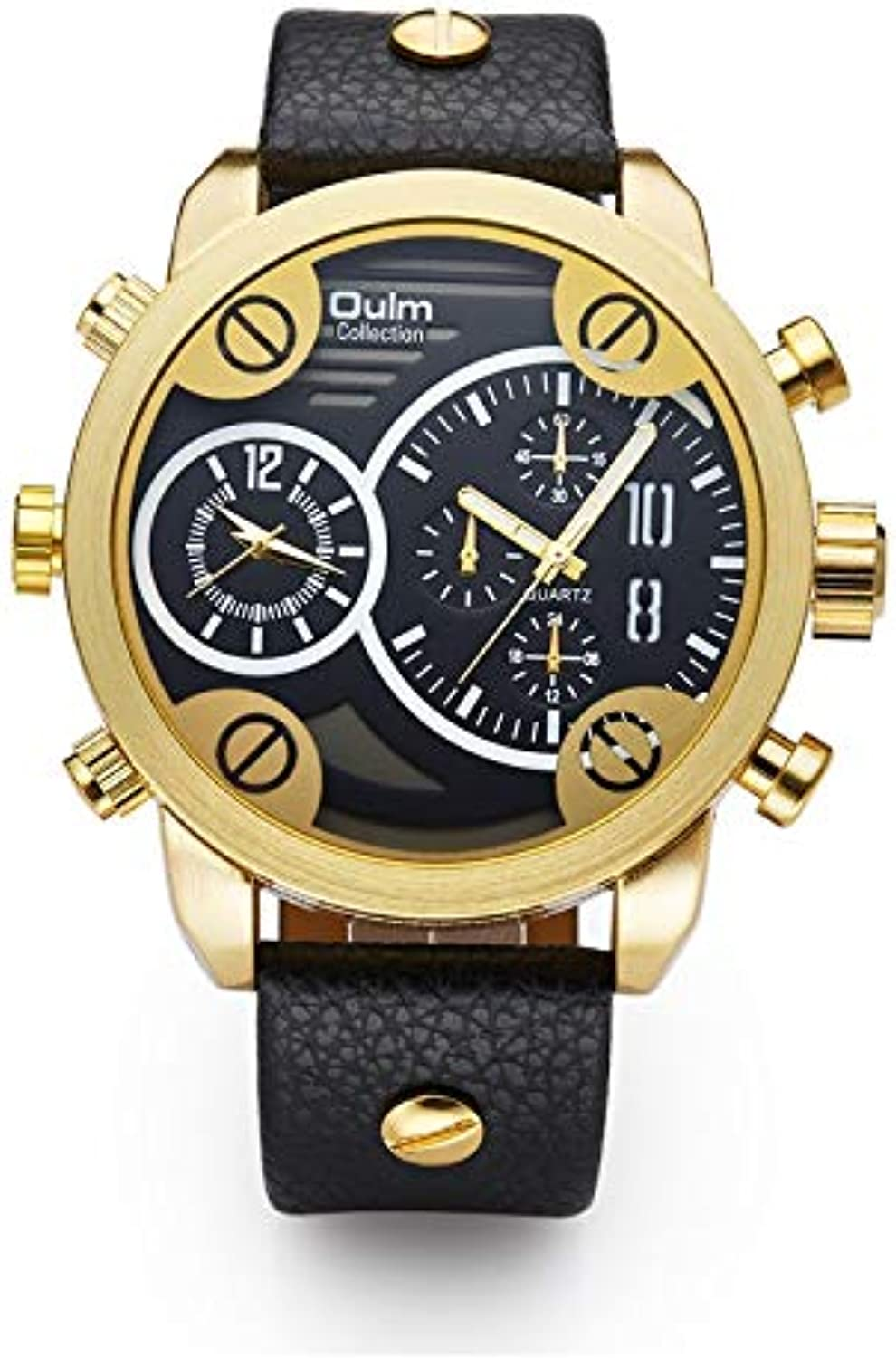 Huijunwenti Men's Casual Watches, Personalized Men's Watches, Two Time Zone Trend Men's Watches Trendy Style