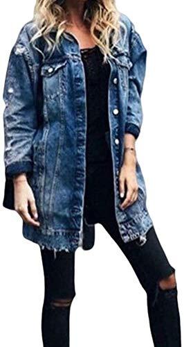 Chaqueta Vaquera de Mujer Abrigo de Mezclilla de Mangas Largas Cazadora Larga de Denim con Bolsillos de Talla Grande para Mujer (Azul, XXL)