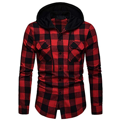 PRJN Herren Hooded Plaid Shirt Button Spleißen Sweatshirt Langarm Plaid Top Herren...