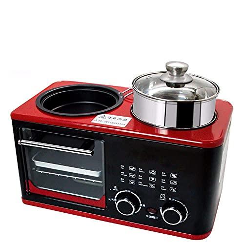 HYCy Máquina Multifuncional de Desayuno 4 en 1, tostadora doméstica, sandwichera tostadora, tostadora, Temporizador automático, Adecuada para cocinar al Vapor, cocinar,Mini hornos de