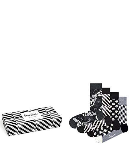 Happy Socks Gemischt farbenfrohe Geschenkbox an Baumwollsocken für Männer & Frauen,Seasonal Black und White,41-46 EU