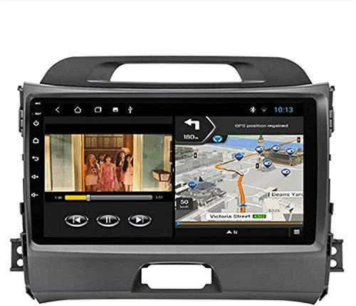 GPS Navigation Head Unit Sat Nav AUD Audio Player MP5 FM Radio Receptor Coche Estéreo De 9 Pulgadas Táctil Android 9.0 Compatible para Kia Sportage 3 2010-2016,4 Core 4G+WiFi 1+16GB