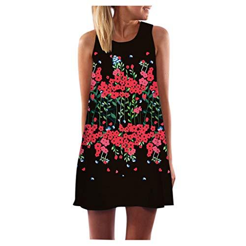 Momoxi Frauen Eulen Muster Mini Kleid Cocktailkleid Blusenkleid, Vintage Boho Damen Sommer Ärmellos 3D Blumendruck Boho Panzer Abendkleid Schwarz L