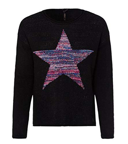 Key Largo Damen Shirt Oberteil Pullover Langarm mit Stern Must-Have Glow, Farbe: schwarz, Size: L