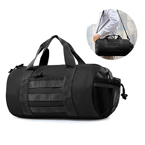BraveHawk OUTDOORS Barrel Duffel Bag, 900D Tactical Waterproof MOLLE Sport Gym Luggage Shoulder Messenger Pack Gear Handbag Valise (Black)