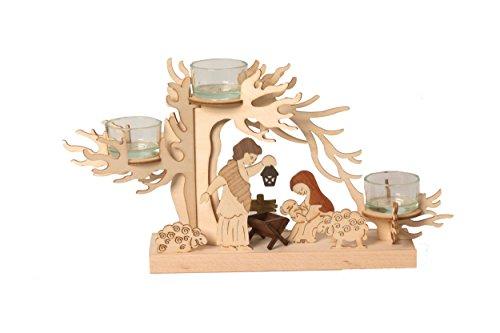 Kuhnert Drechslerei Teelichtbaum Krippe - Teelichthalter aus Dem Erzgebirge