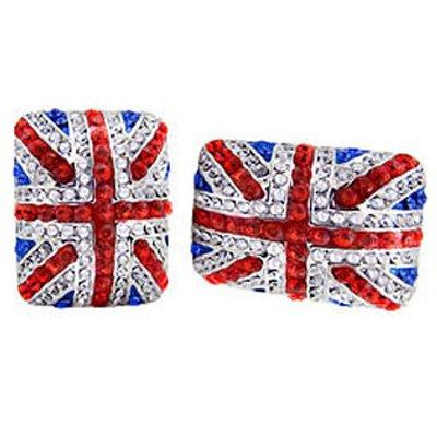 Butler &Wilson carré en cristal boutons de manchettes Motif Union Jack