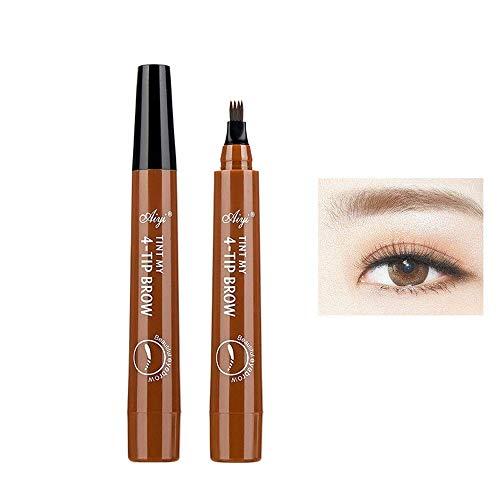 Microblading Tattoo Augenbrauenstift, ALOhaLi wasserdichter Tintengel Tönungszeichnung Augenbrauenstift, flüssiger Augenbrauenstift mit vier Spitzen, natürliche, haarähnliche,Hell braun