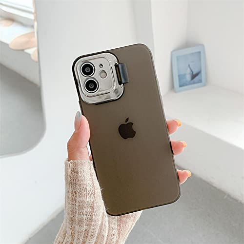 FQSCX Funda para iPhone Soporte de Lente de cámara Invisible Funda Transparente Mate para iPhone 12 11 Pro MAX Mini XS MAX XR 7 8 Plus Se2020 Funda de TPU Suave Ultra Delgada para iPhone12Promax Cle