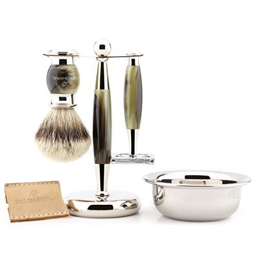 Jag Shaving Kit de afeitado de lujo para hombre con maquinilla de afeitar de doble filo, cepillo de afeitar de punta plateada, soporte, cuenco y bolsa de cuero para afeitar