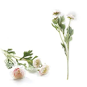 Artificial and Dried Flower 3Pcs Small Ranunculus Asiatic Artificial Flowers Home Artificial Flowers Rose Simulation Bouquet for Wedding Decoration 50CM – ( Color: Pink Daisy )