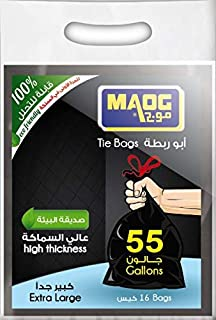 Maog Tie Bag, 55 Gallon, Thick, 16 Pcs, Black