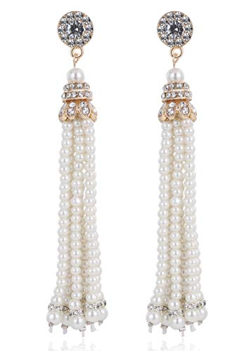 BABEYOND 1920s Flapper Imitation Pearl Earrings 20s Great Gatsby Pearl Tassel Earrings Vintage 20s Flapper Gatsby Accessories One Size Gold