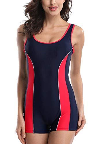 CharmLeaks Athletic Swimwear One Piece Competitive Swimsuit Lap Bathing Suit Boyleg Red L