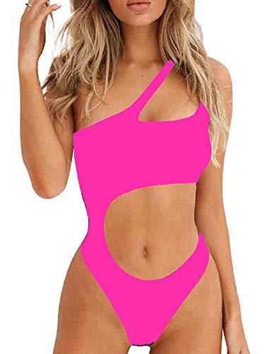 Ducomi Joy Costume Intero Donna - Costumi da Bagno Interi - Bikini Monospalla con Cut-out in Vita, Top Push Up Imbottito e Brasiliana - Beachwear Sexy per Mare e Piscina (Pink, L)