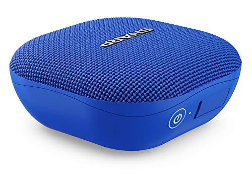 Sharp GX-BT60 (BL) Tragbarer Bluetooth-Lautsprecher, 20 Stunden Spielzeit /Staub-Spritzwassergeschützt/ Mikrofon für Telefonate, Google & Siri - Blau