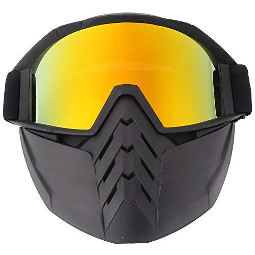 Gafas de esquí para hombre y mujer, gafas de esquí de nieve, lentes únicas, protección UV, gafas de esquí (amarillo blanco)