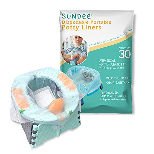 Potty Chair Liners with Drawstring, Portable Disposable Potty Liner Bags for Universal Potty Training Toilet Seat, Toddler Outdoors Travel Baby Toilet Liners - 30 Pack