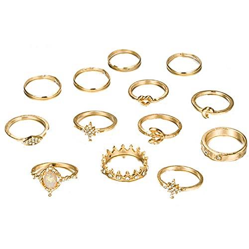 minjiSF Juego de 13 anillos de oro bohemio para mujer, de varias formas, para mujeres y niñas, conjunto de anillos de moda elegante y lujoso con diamantes