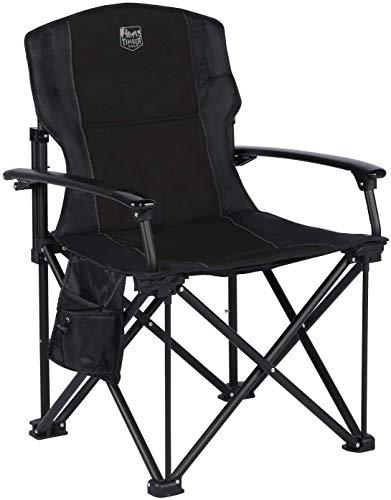 Timber Ridge Leichter Klappstuhl Faltbarer Campingstuhl tragbar für Freien Angeln Balkon Angelstuhl mit Harter Armlehnen und Seitentasche belastbar bis zu 136kg.