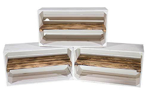 Obstkisten-online 3X Lange WEIßE HOLZKISTEN - mit GEFLAMMTEN REGALBODEN Sideboard oder Schuhregal im Vintage Look - 74,5x40x31cm