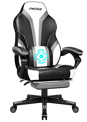 IntimaTe WM Heart Gaming Stuhl, Racing Stuhl mit vibrierender Lordosenstütze, Ergonomischer Bürostuhl, Schreibtischstuhl mit klappbarer Fußstütze, Computerstuhl mit verstellbaren Armlehnen Grau