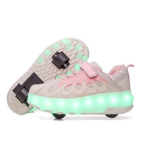 BMDHA Unisex Rollen Skate LED Leuchtend Schuhe,Mit Rollen 7 Farben Wechselhaftes Blinken Doppelräder Skateboard Turnschuhe Für Jungen Mädchen Outdoor Gymnastik Sneaker,Rosa,EU29