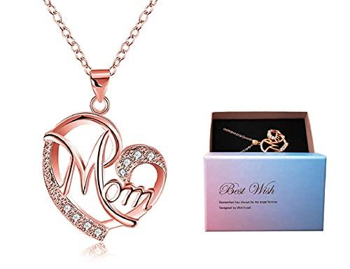 DEESOSPRO Día de la madre regalo, Collar El mejor regalo para el cumpleaños de la madre Corazón Diamante, Collar colgante para el cumpleaños de mamá Oro rosa
