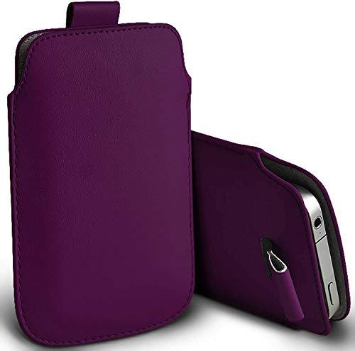 DOT. für Sharp Aquos B10 Langlebig Schutz Tasche Kunstleder Schutzhülle mit Einfacher Zugang Zug Tab Kordel Slip - Lila