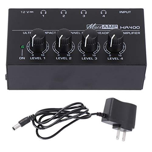 Milisten Amplificador de Auriculares Ha400 Amplificador de Audio Estéreo de Metal de 4 Canales con Enchufe de La UE