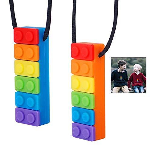 iPobie Beißring Kauen Halskette Silikon Zahnen Anhänger, 2 Stück Bunte Kauen Spielzeug für für Autismus, ADHS, Babys Sensorische Oral Motor, Angst