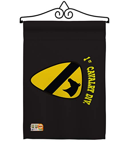 Americana Home Gardenblack 1st Cavalry Garden Flag Set Wall Hanger Armed Forces Army Rangers United State American Military Veteran Retire Official House Banner Small Yard Gift Double Sided Made In