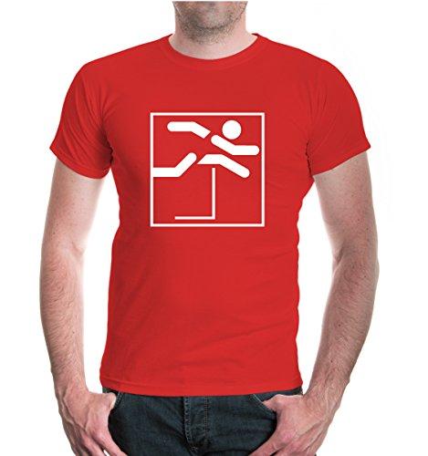 T-Shirt Hürdenlauf-Piktogramm-XXL-Red-White