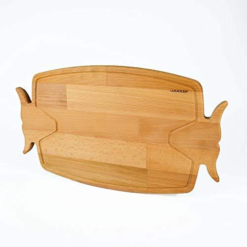 WODDUN Tabla de cortar, tabla de servir, tabla de madera de haya prémium, platos de carne orgánica, tabla de pan, tabla de cocina de desayuno, tabla de madera con surco, 40 x 24 x 1,8 cm (modelo 1)