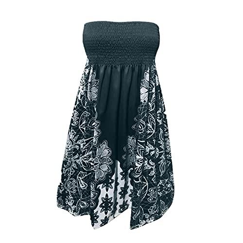 iQKA Women Knee Length Dress Elastic Ruched Tube Top Mini Dress Floral Print Sexy Strapless Summer Dresses Vestidos(AArmy Green,L