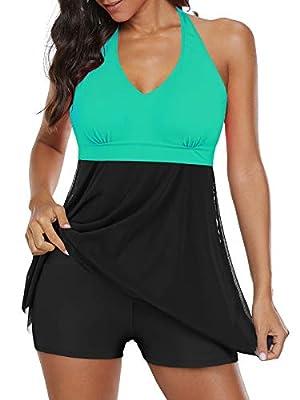 Century Star Womens Athletic One Piece Swimwear Tummy Control Plus Size Swimdress Long Torso Tankini Swimsuit Bathing Suits Green 18-20