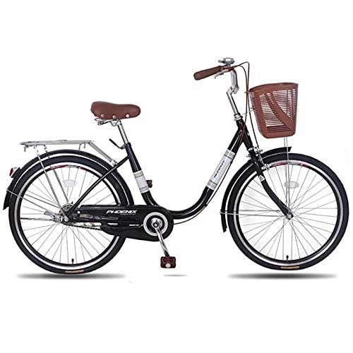 QIU Ladies 20'/' 24'Rueda 19' Marco Bicicleta Tradicional Bicicleta Azul (Color : Black, Size : 24')