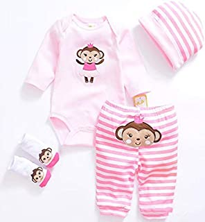NPKPINK Reborn Baby Doll Clothes for Girl Reborn Doll 20''- 23''Pink Monkey Outfit Accessories 4pcs