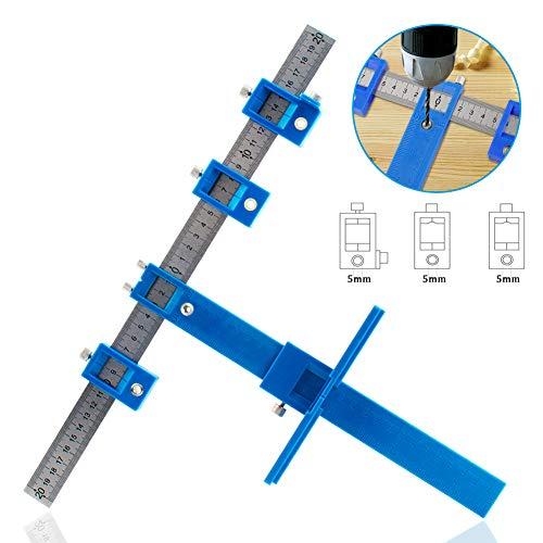 Preisvergleich Produktbild IsEasy Locher Locator Bohrführung,  Bohrhilfe Bohrführungshülse,  Schrank Hardware Jig Schablone,  Holzbohrdübel Lineal Messwerkzeug für die Montage von Griffen