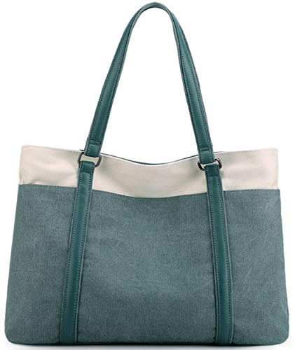 Wearigoo Work Tote Bags for Women Canvas Travel Large Laptop Tote Shoulder Purse Suitable for Work and Daily With Zipper and Multiple Pockets Green-2