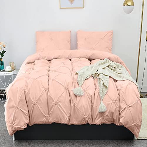 LHKIS Duvet Cover King, Pink Soft Duvet Cover Set, Farmhouse Textured Comforter Cover Hotel Pintuck Bedding Duvet Cover 3 Pieces