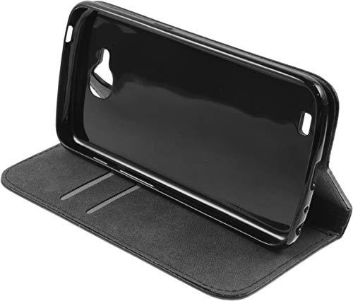 Baluum Hülle Kunstleder Bookstyle für LG X Venture Schwarz Aufklappbare Lederhülle Book-Hülle Cover mit Standfunktion & Kartenfächern