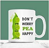 N\A Guisante Taza, no se preocupe Guisante Feliz, Sea Feliz, Divertido Guisante Tazas d para el Vegano, Regalos Farmer, Lindo Tazas de Guisantes, Taza Vegetariana, Guisante del Regalo del Amante