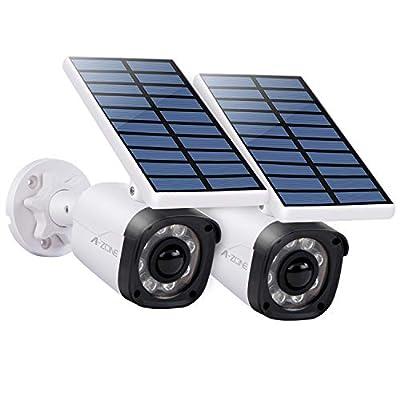 Solar Motion Sensor Light Outdoor - 800Lumens 8 LED Solar Security Lights 5-Watt IP66 Waterproof, Wireless Solar Flood Light for Porch Garden Pathway, Aluminum, Pack of 2 (White) (Light-6)