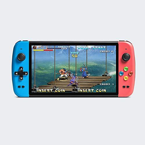 CZT La Console di Gioco Quad-Core da 7 Pollici con Doppio Joystick preciso Supporta più emulatori integrati 9000 Giochi Uscita HDMI Batteria al Litio Ricaricabile da 4000 mAh mp3 / mp4 (Blu-Rosso)