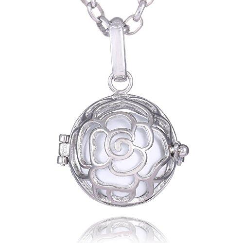 Morella Collar de Acero Inoxidable 70 cm con Colgante Rosas y Bola de resonancia de Color Blanco Ø 16 mm para Damas en Bolsa para Joyas