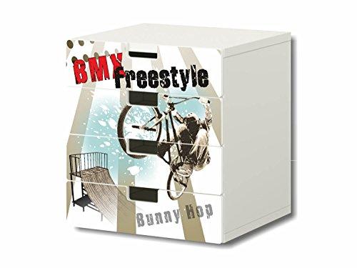 Stikkipix BMX Freestyle Möbelsticker/Aufkleber - S4K11 - passend für die Kinderzimmer Kommode mit 4 Fächern/Schubladen STUVA von IKEA - Bestehend aus 4 passgenauen Möbelfolien (Möbel Nicht inklusive)